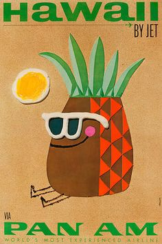 DP Vintage Posters - Hawaii by Jet Original Pan Am Travel Poster Pineapple
