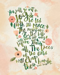 Isaiah 55:12 Watercolor Typography Bible Verse by InkLaneDesign on Etsy #bible #verse #typography