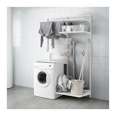 IKEA - ALGOT, Wandrail/planken/droogrek, De onderdelen van de ALGOT serie kunnen op diverse manieren worden gecombineerd en zijn daardoor eenvoudig aan te passen aan de behoefte en de ruimte.Ook te gebruiken in de badkamer en andere vochtige ruimtes binnen.Je klikt de consoles in de ALGOT wandrails op een plek waar je een plank of accessoire wilt bevestigen - geen gereedschap nodig.