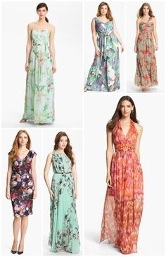 Different but I like them! Pretty for a garden themed wedding. Floral Bridesmaid Dresses