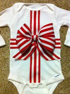 My #DIY #1st christmas #bow onesie #sewing