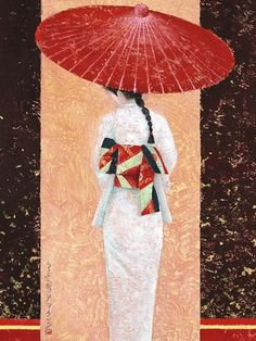 Shop for ''Girl in Kimono II'' by Mira Latour Kunst Graphics Art Print x in. Get free delivery at Overstock - Your Online Art Gallery Store! Japanese Painting, Chinese Painting, Chinese Art, Geisha Kunst, Geisha Art, Umbrella Art, Japan Art, Japan Japan, Kyoto Japan