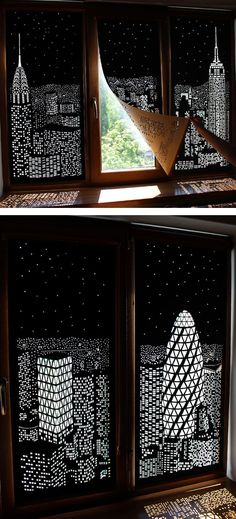 modern blackout curtains turn windows into penthouse views of a city at night - First Dibs Home Decor