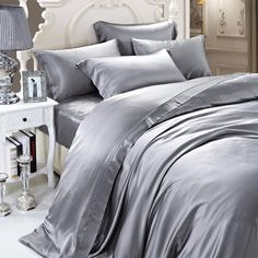 19 momme Silver Grey/Gray Luxuer Silk Duvet Cover
