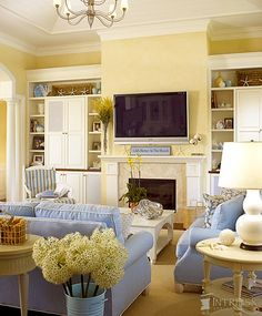 Casual Coastal Blue & Yellow Living Room Casual Coastal Blue Living Family Room, Blue & Yellow Home Decor, Traditional Coastal Home Decor, J Yellow Walls Living Room, Cottage Living Rooms, Coastal Living Rooms, My Living Room, Living Area, Blue Rooms, Blue Walls, Style At Home, Family Room Design