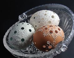 Easter Eggs Set of 3 Traditional Slavic Carved and by EggstrArt