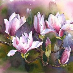 Beautiful painting by artist Rachel McNaughton. Lovely rose color and delicate lines on the semi-abstract flowers and a great loose texture in the background. Art Floral, Watercolour Painting, Watercolor Flowers, Abstract Flowers, Illustration Blume, Magnolia Flower, Spring Blooms, Botanical Prints, Beautiful Paintings