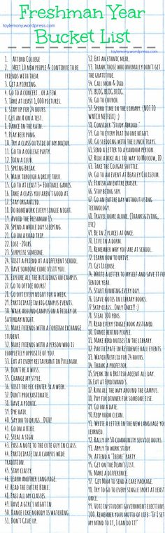 Freshman Year Bucket List- gotta make one of my own: Maybe College Bucket List College Checklist, College Essentials, College Hacks, Dorm Room Checklist, College Necessities, College Packing Lists, College Years, Freshman Year, College Life