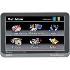 "Sanyo Easy Street NVM-4370 4.3-Inch Portable GPS Navigator by Sanyo. $89.95. 4.3"" touch screen display with stylish thin bezel designPre-loaded 50 U.S. Puerto Rico and Canada mapsBluetooth  enabled (built-in microphone) SMS and data transfer video input for back up camera SD  card slotText-to-specch (TTS)Built-in 4.0GB internal memory 7 million points of interest (POI) and JPEG photo viewingVoice guidance turn-by-turn navigation and Li-Ion battery that last up to 4 hoursOption..."