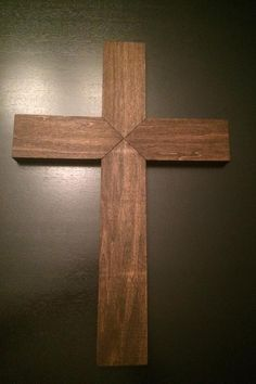 Wooden Cross With Light For Wall Out Of Old Barn Wood