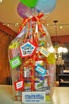 Creative Raffle Basket Ideas for a Charity, School or Fundraising Raffle or Silent Auction December 2019 Fathers Day Gift Basket Idea – Make a Family Game Night Gift Basket for Dad – he'll love it! Theme Baskets, Themed Gift Baskets, Diy Gift Baskets, Family Gift Baskets, Fundraiser Baskets, Raffle Baskets, Fundraiser Games, Fathers Day Gift Basket, Silent Auction Baskets