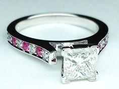 Princess Diamond Engagement Ring Pink Sapphires