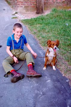 vintage street style photography > skinhead boy wearing braces and Ox Blood DR Martins with dog. Skins / Mod / Skinhead / Skinheads / Oi! / kid