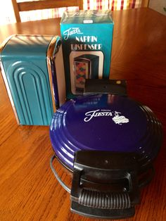 Fiesta Juniper Napkin Dispenser and Cobalt Waffle Iron