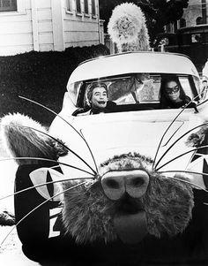 Eartha Kitt and Cesar Romero as Catwoman and The Joker in the Kitty Car on the Batman TV show,1960's