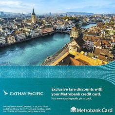 Plan your next holiday today!  From October 17 to 28, 2016, enjoy exclusive fare discounts with Cathay Pacific using your Metrobank Card!  Travel until June 30, 2017. Book at www.cathaypacific.ph  PLUS, 0% installment up to 3 months available when you book at the Cathay Pacific ticketing office.  For more promo deals, VISIT http://mypromo.com.ph/! SUBSCRIPTION IS FREE! Please SHARE MyPromo Online Page to your friends to enjoy promo deals!