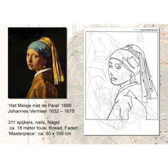 Bought this DIY painting - Johannes Vermeer, Het meisje met de parels - to make with nails and pink neon wool