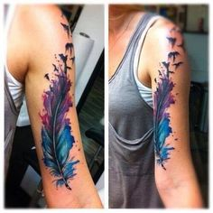 Watercolor Feather Tattoo On Half Sleeve