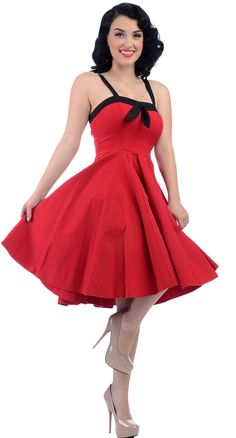 Steady Clothing Sara Dress in Red Blame Betty Get with black crinoline and red heels, also at Blame Betty.