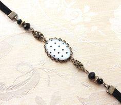 headband - bijoux de cheveux vintage cabochon pois noir et blanc, suédine n.08 : Accessoires coiffure par naifane-bijoux