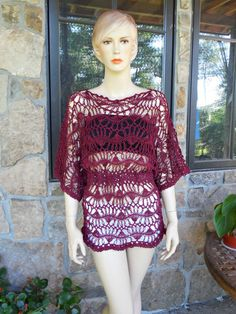 Hey, I found this really awesome Etsy listing at https://www.etsy.com/listing/112503931/burgundy-hairpin-lace-crochet-tunic