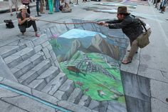 "Ventura, California-based chalk artist Tracy Lee Stum is well-known for her brilliant ongoing series of ""interactive chalk art street paintings."" She began street painting in 1998 and is still, to this day, going strong. Amazing Street Art, 3d Street Art, Street Artists, Chalk Artist, 3d Chalk Art, Pavement Art, Street Painting, Chalk Painting, Sidewalk Chalk Art"