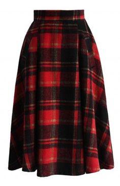 Retro A-line Midi Skirt in Red Plaids - Retro, Indie and Unique Fashion