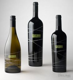 "The designers at Laughing Stock Wine took a literal approach to designing their label.  A stock ticker twists and wraps around the bottle, displaying the basic details of the wine contained within.  The name of the wine is displayed as a stock symbol, ""LFNG"", with the vintage year below it.  In all, the design does an excellent job of conveying the character of the brand"