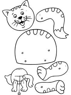 coloriage chat, chat pantin, fabriquer un pantin, chat,