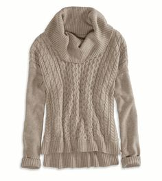 AE Real Soft Cabled Hi-Lo Sweater Color: Heather Brown Size: Medium