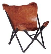 Tan Leather Butterfly Chair