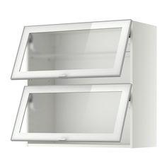 METOD Wandschrank horiz. m 2 Glastüren, weiß, Jutis Frostglas Jutis Frostglas/Aluminium 80x80 cm weiß