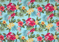 80ukuhi This all-over stylized, multi-colored hibiscus, plumeria, orchids and ferns pattern apparel cotton is a happy print that is available in aqua, yellow and natural backgrounds.  More fabrics at: BarkclothHawaii.com