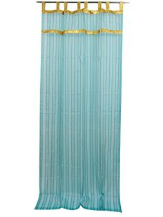 2 Sheer Organza Curtain Turquoise Border Drapes Panels , Indian sarees curtain made of sari allow light in through windows but prevent people looking in when they are drawn. Tab Top Curtains, Striped Curtains, Drapes Curtains, Drapery, Sheer Drapes, Sheer Curtain Panels, Window Panels, Indian Curtains, India Home Decor