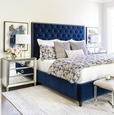 Room Ideas / Bedroom / Livable Luxe – High Fashion Home Blue Master Bedroom, Blue Bedroom Decor, Silver Bedroom, Decoration Bedroom, Room Ideas Bedroom, Home Bedroom, Master Bedrooms, Bed Room, Royal Blue Bedrooms
