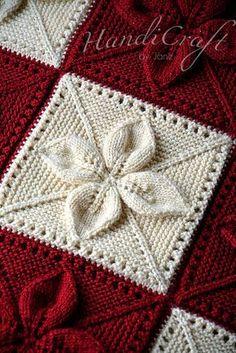 Manta punto. Rojo y beige manta hecha a mano para bebé con