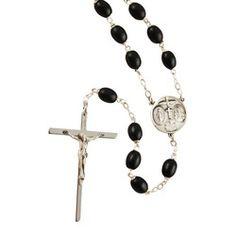 Black Wood Sterling Silver Rosary, $86.95. Catholic Company