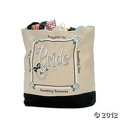"""Bride"" Tote Bag for wedding day essentials"