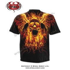 T-shirt homme avec têtes de morts ailés enflammées T Shirt, Rock, Mens Tops, Skull, Gothic, Supreme T Shirt, Tee Shirt, Skirt, Locks