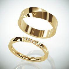 14 k Rose Gold Mubius Ringe Set Damen ring Set mit Diamanten Trauringe His and Hers Mobius Wedding Band Set Wedding Rings Simple, Wedding Rings For Women, Diamond Wedding Rings, Unique Rings, Bridal Rings, Diamond Rings, Diamond Jewelry, Gold Jewelry, Fine Jewelry