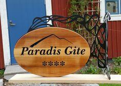 Hanging shop sign, art nouveau bracket, sign in western red cedar. Prades, France. Westerns, Art Nouveau, France, Signs, Home, Baby Born, Shop Signs, Ad Home, Homes
