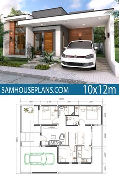 Home Plan 3 Bedrooms - Sam House PlansYou can find Home plans and more on our website.Home Plan 3 Bedrooms - Sam House Plans Simple House Plans, Simple House Design, Minimalist House Design, New House Plans, Modern House Design, Small Home Plans, Small Contemporary House Plans, Tiny Home Floor Plans, 3 Bedroom Home Floor Plans