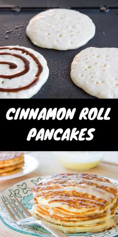 Cinnamon Roll Pancakes It smells incredible, tastes incredible and looks incredible. Perfect combo for impressing your loved ones. They will love you more after making these pancakes. Breakfast Low Carb, Breakfast Pancakes, Breakfast For Kids, Yummy Easy Breakfast, Best Breakfast Foods, Kids Breakfast Recipes, Yummy Breakfast Ideas, Croissant Breakfast Casserole, Pancake Dessert