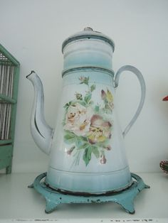 vintage French coffeepot floral