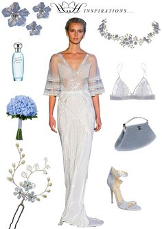 HERMIONE HARBUTT STYLE BOARDS | Bridal Inspirations - Transparent Blues | Forget Me Not Headpiece and Forget Me Not Hairpin by Hermione Harbutt | Alon Livne Wedding Gown | Chanel Vintage Clutch Bag | Marchesa Heeled Sandals | Perfume by Estee Lauder | Fleur of England Bra |