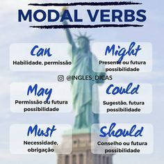 MODAL VERBS! Com essa #Dica você nunca mais vai errar Visite-nos no #Instagram @ingles_dicas😊📕🖊 English Time, English Verbs, English Course, English Book, English Study, English Lessons, English Grammar, Learn English, Grammar And Vocabulary