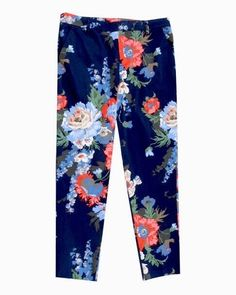 Joules Navy Womens Floral Crop Trousers Size 8