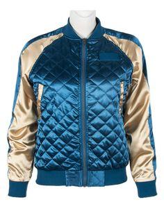Blue Color Block Zipper Up Long Sleeve Bomber Jacket