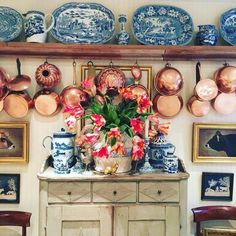 Copper pans and blue white porcelain