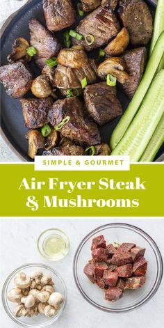 Air Fryer Recipes Steak, Air Fryer Dinner Recipes, Supper Recipes, Easy Mushroom Recipes, Veggie Recipes, Beef Recipes, Ninja Recipes, Steak And Mushrooms
